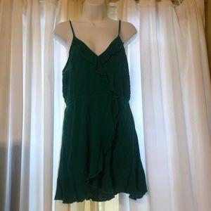 Green ruffle mini wrap dress summer